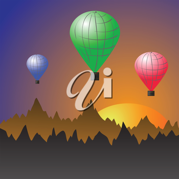 colorful illustration with balloons for your design