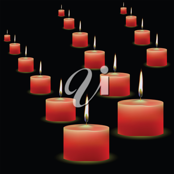colorful illustration with red candles for your design