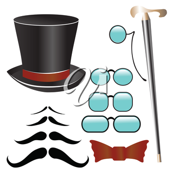 colorful illustration with mustaches and  retro accessories   for your design