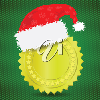 colorful illustration with  gold medal and Santa hat for your design