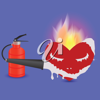 colorful illustration with extinguisher and heart for your design