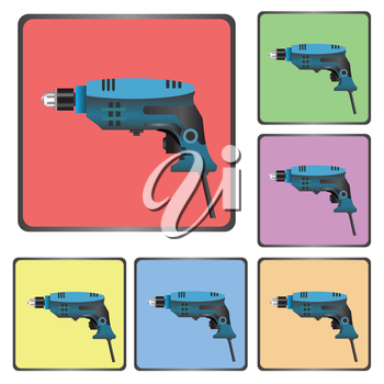 colorful illustration with  icons of drill  for your design