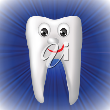 colorful illustration with cheerful tooth for your design