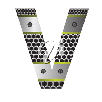 colorful illustration with perforated metal letter V  on a white background