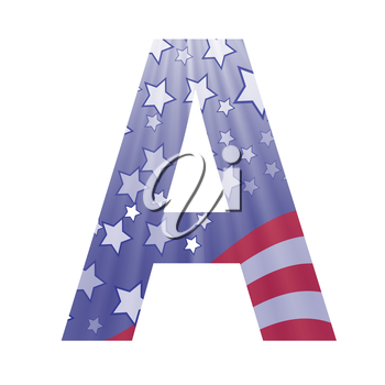 colorful illustration with  american flag letter A on a white background