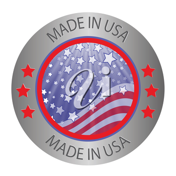 colorful illustration made in USA button on a white background