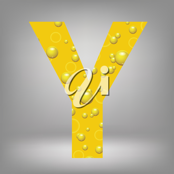 colorful illustration with beer letter Y on a grey background