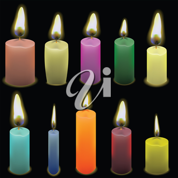 colorful illustration  with set of candles on dark background
