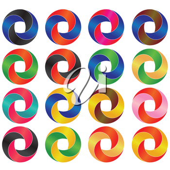 illustration  with Business Abstract Circle icons on white background