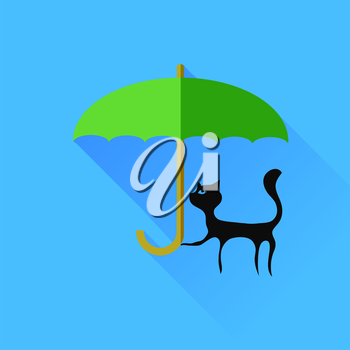 Black Cat and Green Umbrella Isolared on Blue Background.