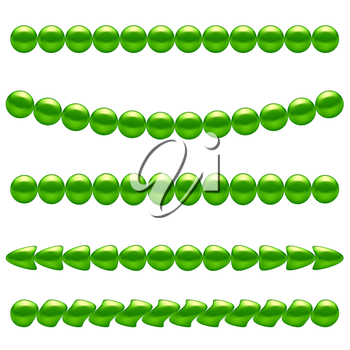 Green Pearl Necklace Isolated on White Background
