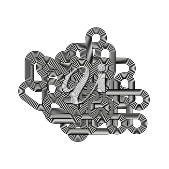 Line Retro Ornament Isolated on White Background.
