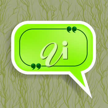 Green Paper Speech Bubble Isolated on Dark Background