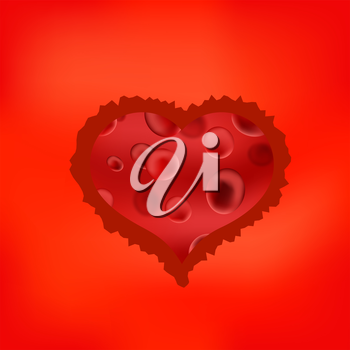 Red Stilized Heart Isolated on Soft Red Background. Symbol of Heart. Original Heart Icon.