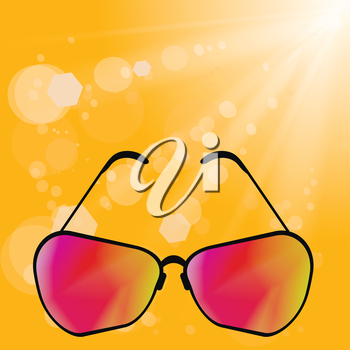 Sun Glasses on Yellow Summer  Blurred Background