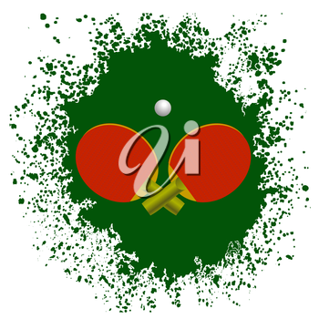 Red Tennis Rackets and Plastic Ball on Green Splatter Background