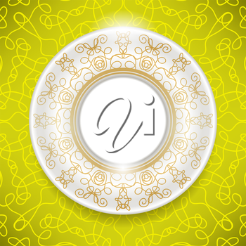 Ceramic Ornamental  Plate Isolated on Yellow Background. Top View