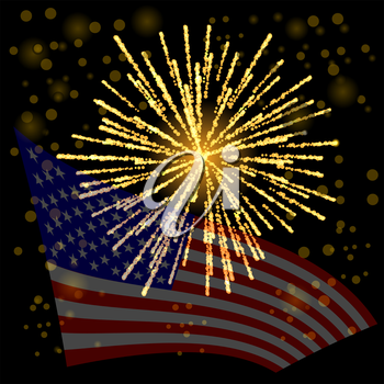 Independense Day of America. American Flag Starry Background.