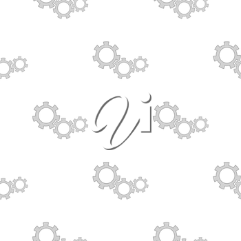 Gears Isolated on White Background. Seamless Gears Pattern