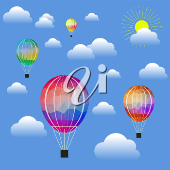 Colored Air Balloon Icons Flying on Blue Sky Background
