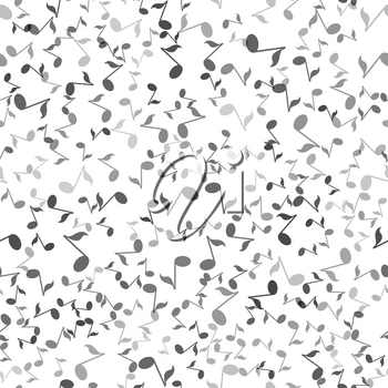 Musical Notes Seamless Pattern on White Background
