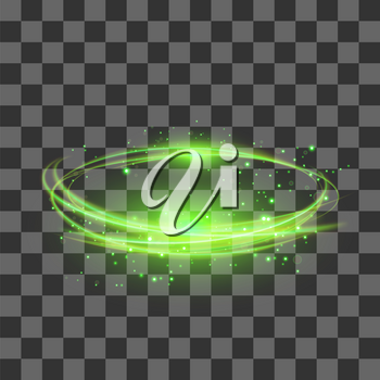 Transparent Light Effect Isolated on Checkered Background. Green Lightning Flafe Design. Gold Glowing Stars. Abstract Ellipse with Circular Lens. Fire Ring Trace