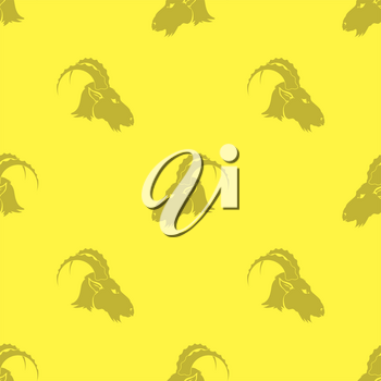 Horned Goats Seamless Pattern Isolated on Yellow Background. Grey Silhouette of Ram