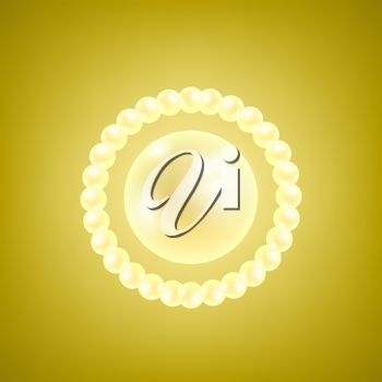 Vector Natural Realistic Pearls on Yellow Gradient Background