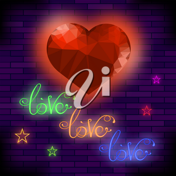 Red Neon Love Sign on Brick Background