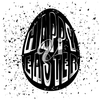 Typography Design of Print with Egg Lettering Silhouette on Grunge Background. Happy Easter Banner
