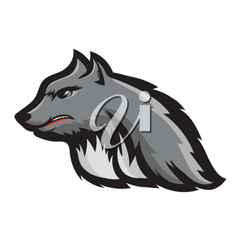 Silhouette of Werewolf Head Isolated on White Background. Fairtale Character of Ancient Mythology. Fictional Animal Wolf Mascot.