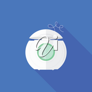 Dental Floss Icon on Blue Background. Tooth Care. White Plastic Box with Green Label for Flossing Teeth. Oral Hygiene Symbol. Medical String for Correctly Gentle Cleaning of Oral Cavity