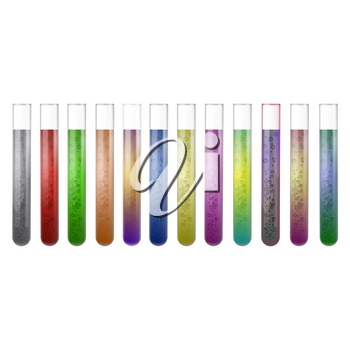 Chemical Test Tube Set with Colored Liquids on White Background