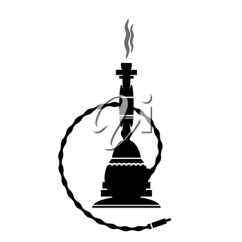 Arabic Hookah Silhouette Isolated on White Background.