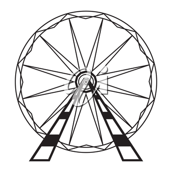 Ferris Wheel Icon Isolated on White Background. Attraction System. Amusement Park.