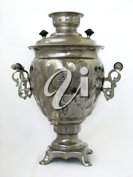 old russian samovar isolated on a white background
