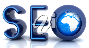 Blue metallic text 'SEO' with earth globe, symbol. 3d illustration on a white background