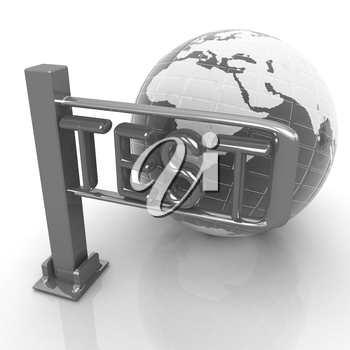 Global test with erth and turnstile on a white background