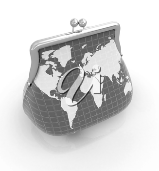 Purse Earth. On-line concept on a white background