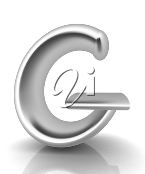 3D metall letter G isolated on white