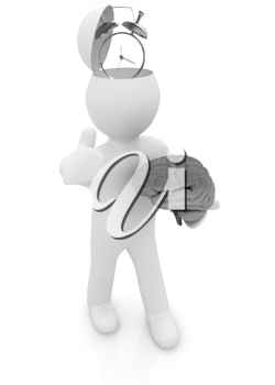 3d people - man with half head, brain and trumb up. Time concept with clock