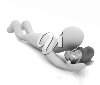 3D human lying and holds hearts