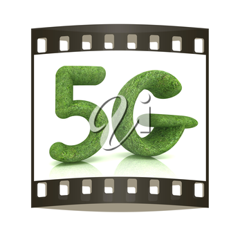5g modern internet network. 3d text of grass on a white background. The film strip