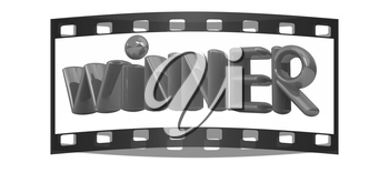 The word Winner on a white background. The film strip