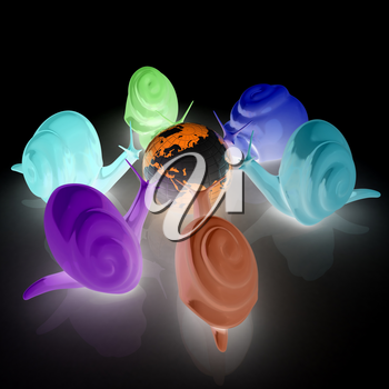 3d fantasy animals, snails and earth on white background