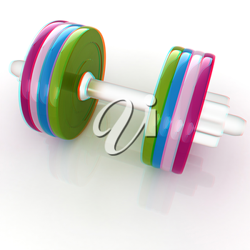 Colorful dumbbells on a white background. 3D illustration. Anaglyph. View with red/cyan glasses to see in 3D.