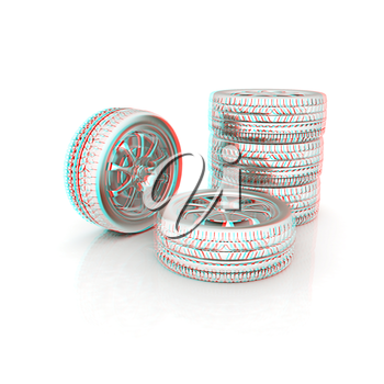 car wheels icon on white background . 3D illustration. Anaglyph. View with red/cyan glasses to see in 3D.