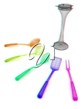 cutlery. 3D illustration. Anaglyph. View with red/cyan glasses to see in 3D.