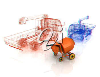 3d model concrete mixer and truck. 3D illustration. Anaglyph. View with red/cyan glasses to see in 3D.