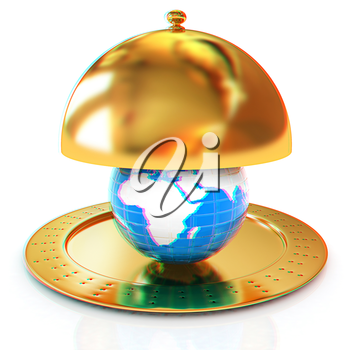 Serving dome or Cloche and Earth. 3D illustration. Anaglyph. View with red/cyan glasses to see in 3D.